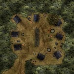 A camp in a forest clearing, with big tents and some feast on a huge table. Maybe a somewhat permanent camp for successful bandits?